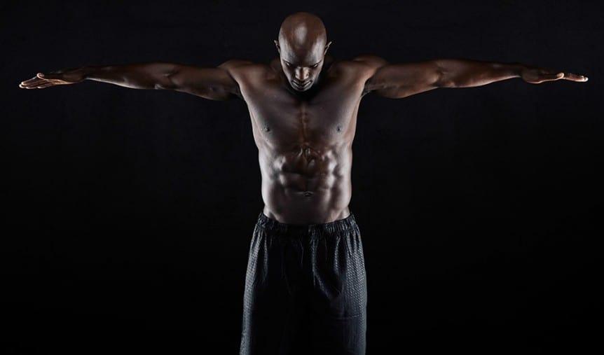 man showing wingspan